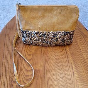 Antik Kraft tan studded crossbody bag